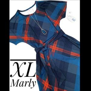 *New style* Size XL blues/red plaid Marly w/pocket